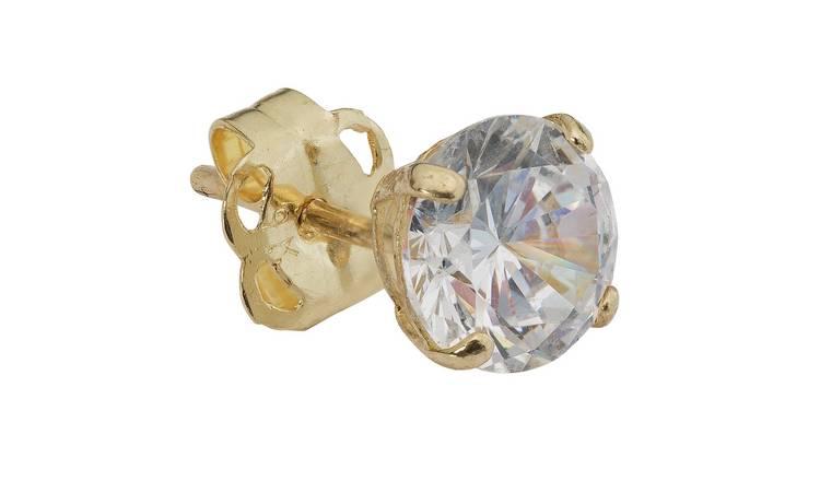 dc7e53dd8 Buy Revere Men's 9ct Gold Cubic Zirconia Single Stud Earring | Men's ...