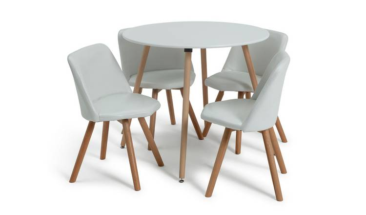 Buy Argos Home Quattro White Dining Table 4 White Chairs Dining Table And Chair Sets Argos