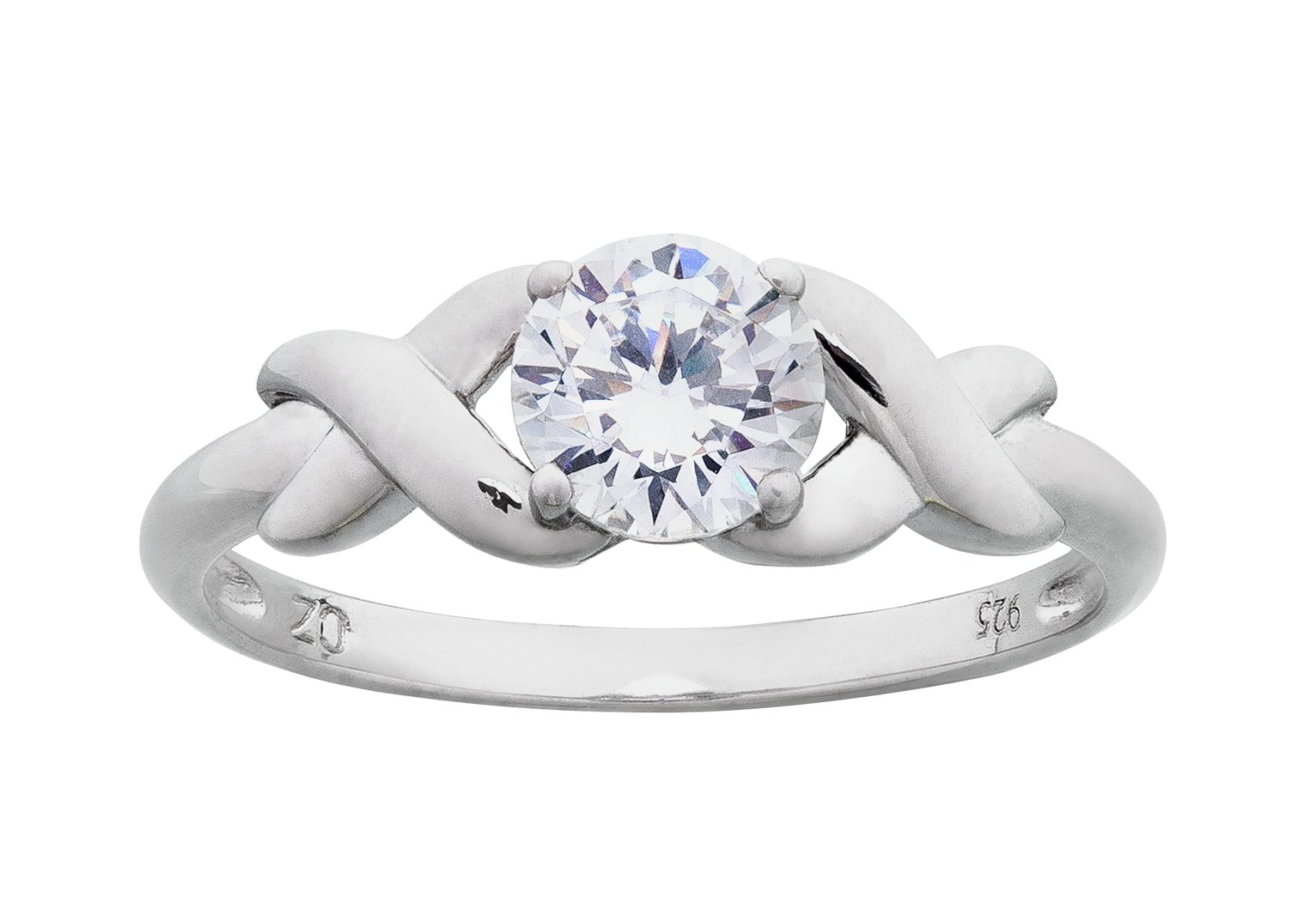 Revere Platinum Plated Silver Cubic Zirconia Kiss Ring