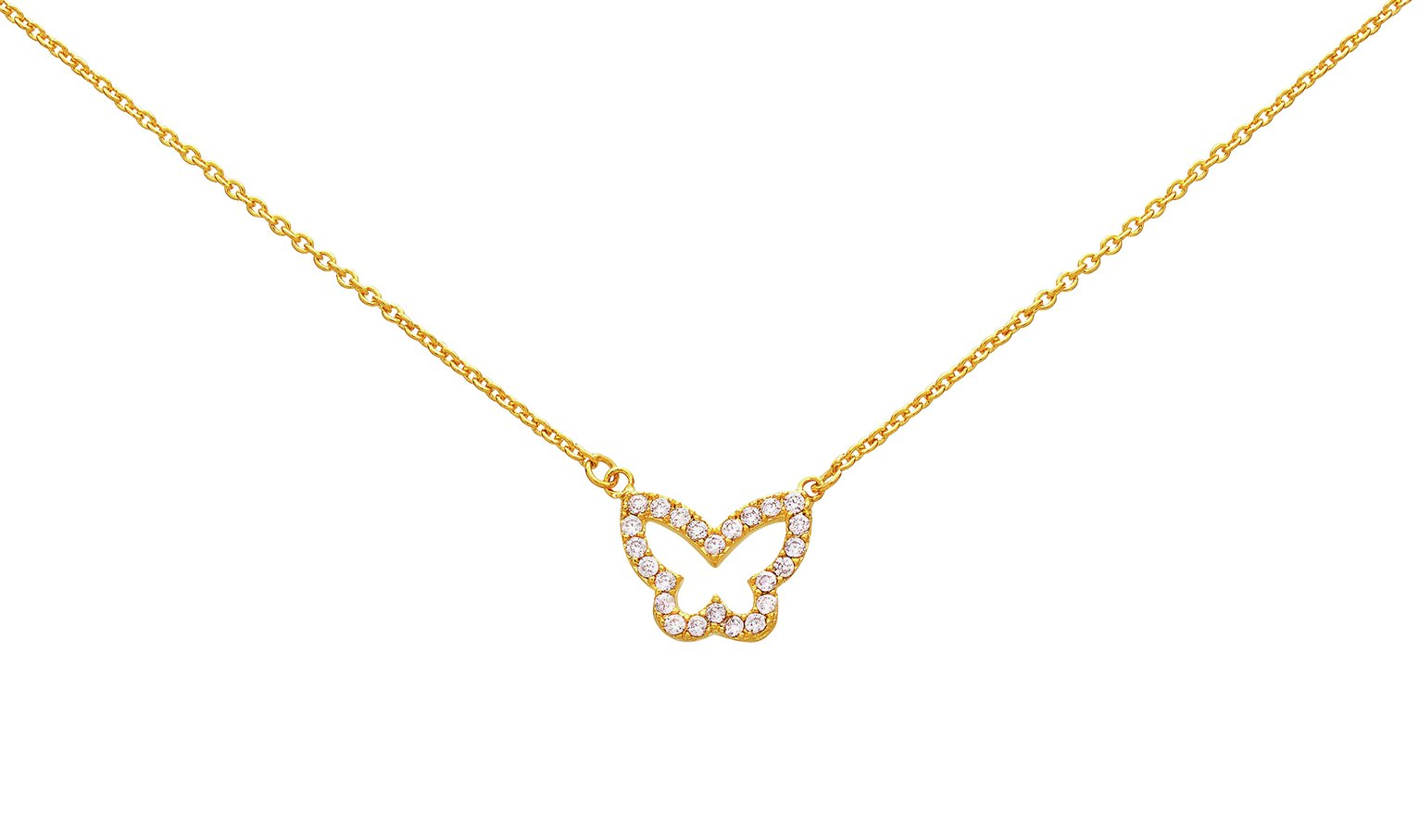 Image of Abbey Clancy Gold Colour Cubic Zirconia Butterfly Necklace