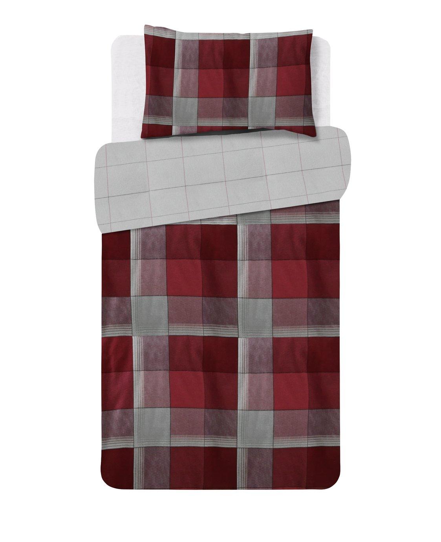 Argos Home Louis Red Brushed Cotton Bedding Set - Single