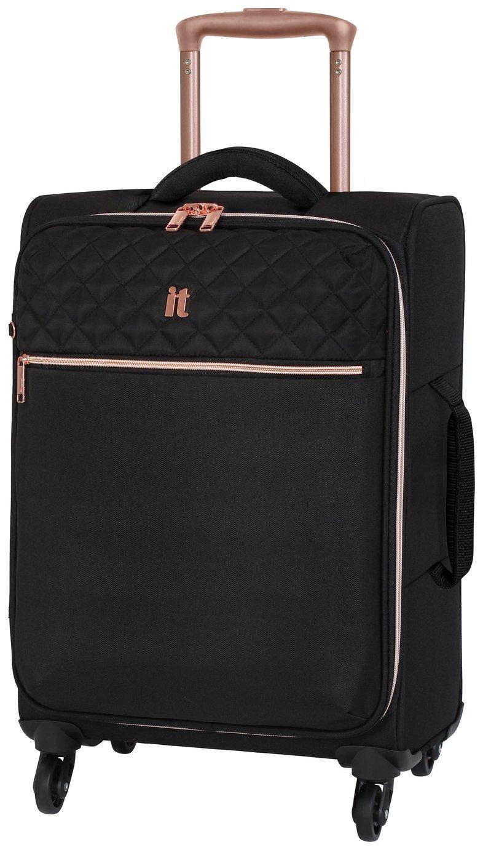 IT Luggage Expandable 4 Wheel Soft Cabin Suitcase - Black