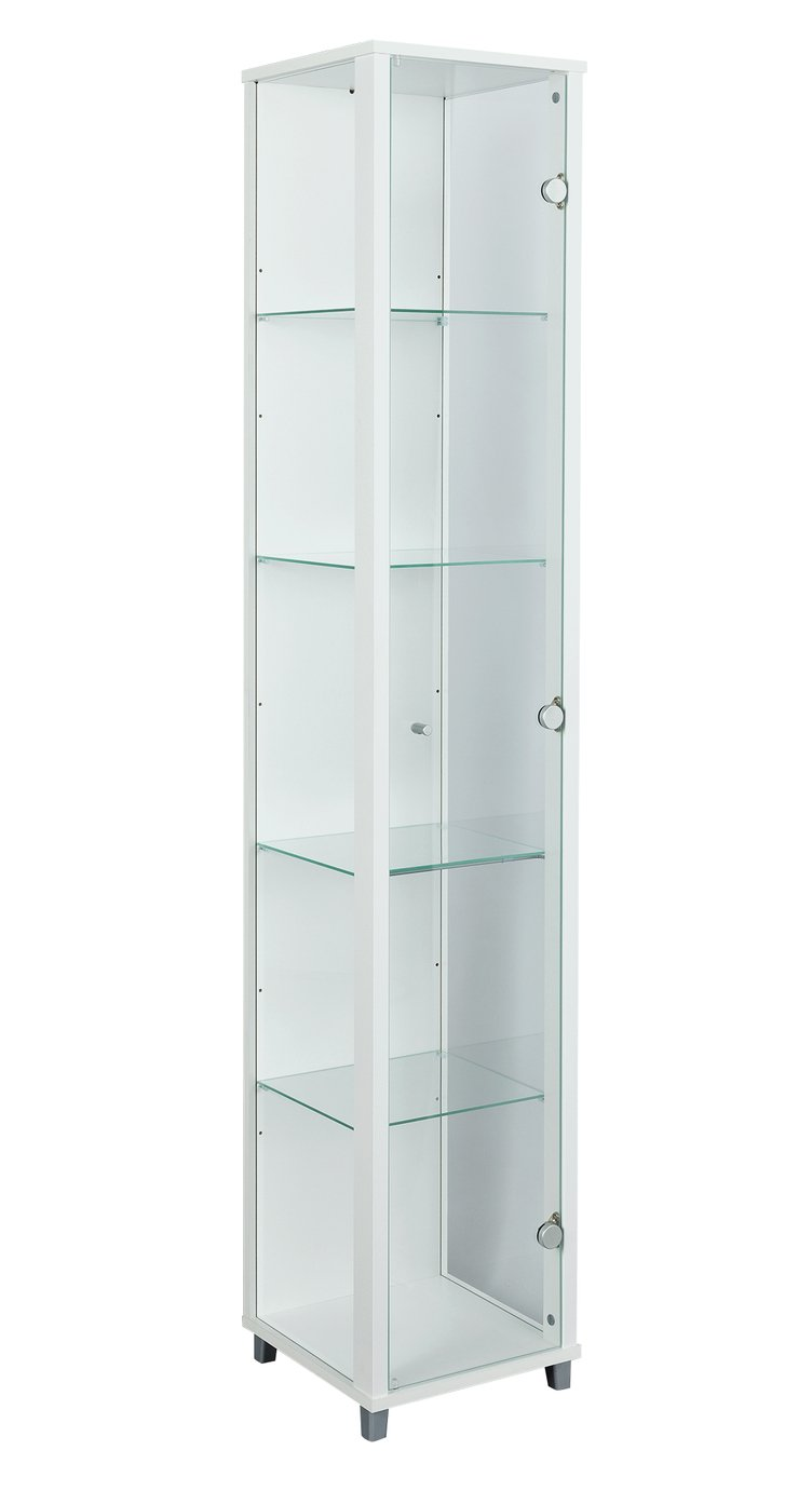 HOME 1 Door Glass Display Cabinet - White