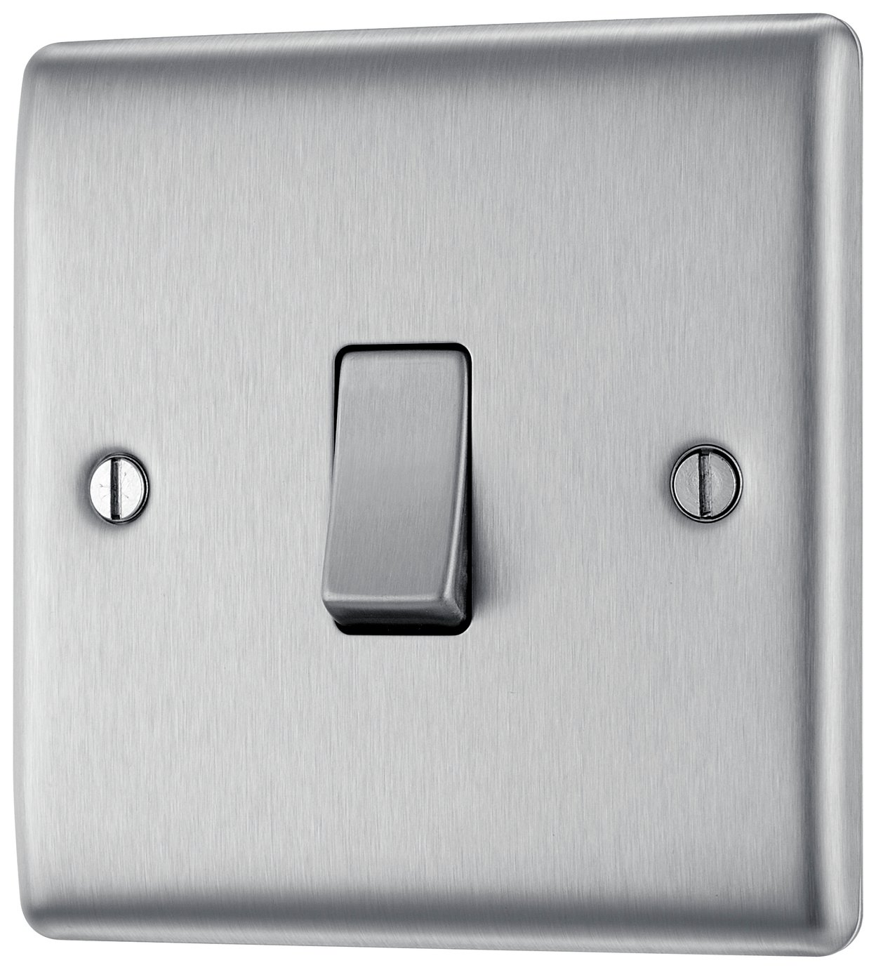 BG Single 2 Way Raised Switch - Stainless Steel