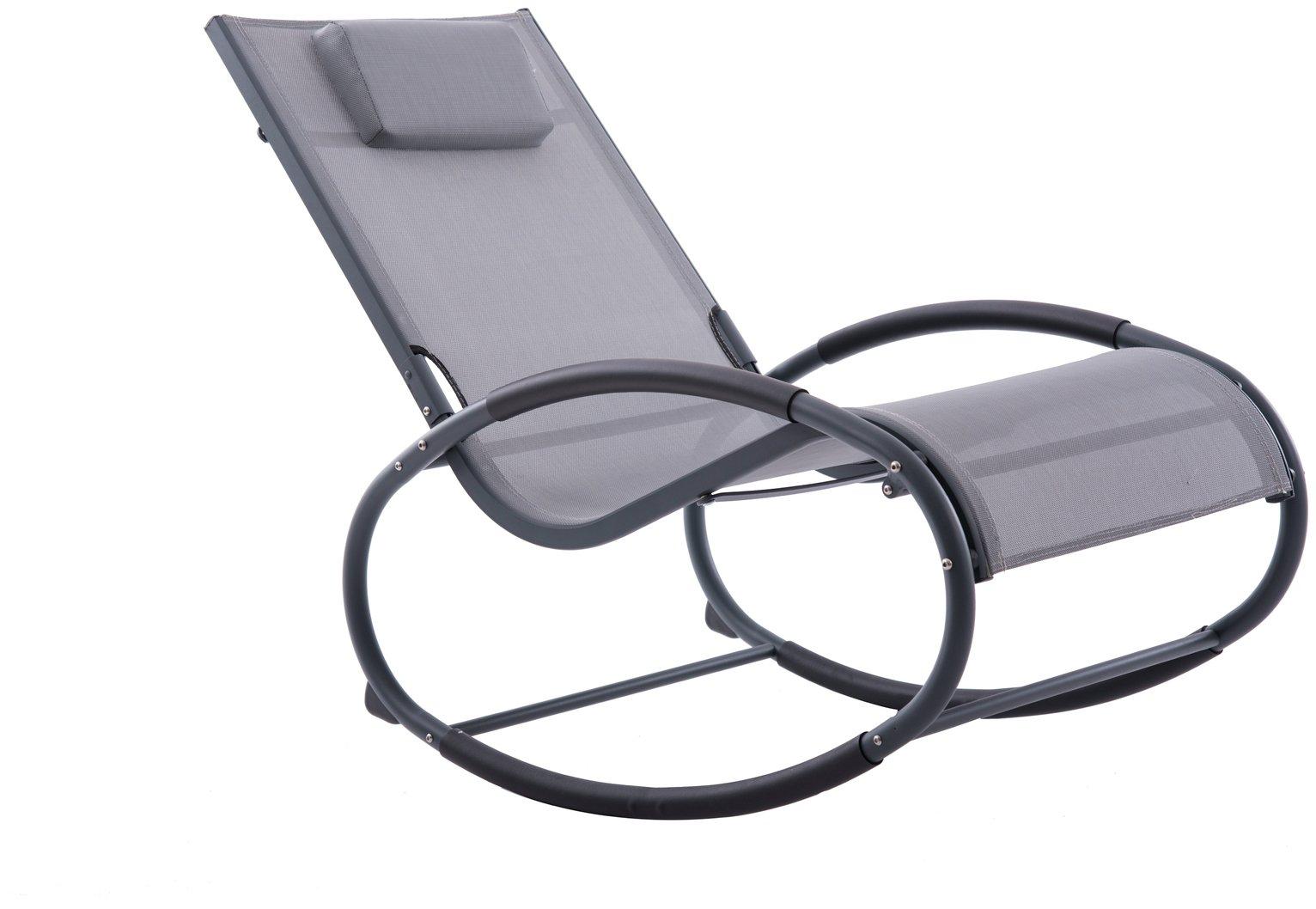Vivere Wave Metal Rocker Chair - Grey on Matte Black