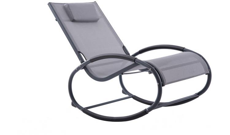 Vivere Wave Metal Rocker Chair - Grey on Matte Black