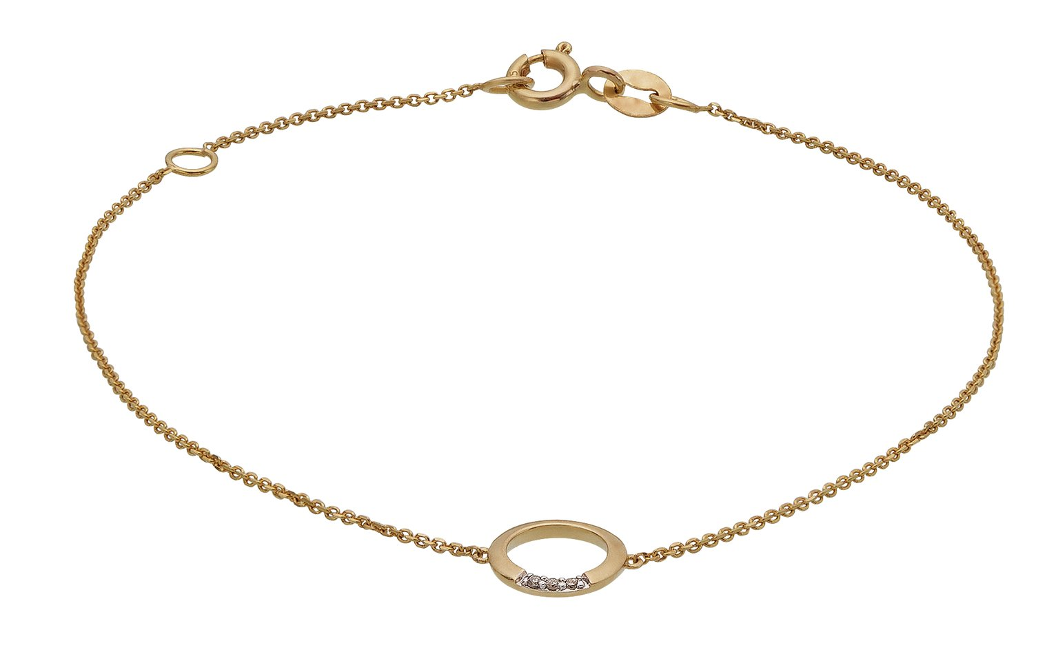 Revere 9ct Gold Diamond Accent Circle Bracelet