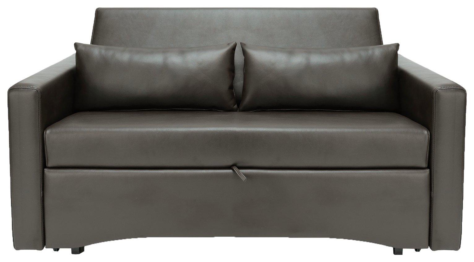 Argos Home Reagan 2 Seater Faux Leather Sofa Bed -Dark Brown