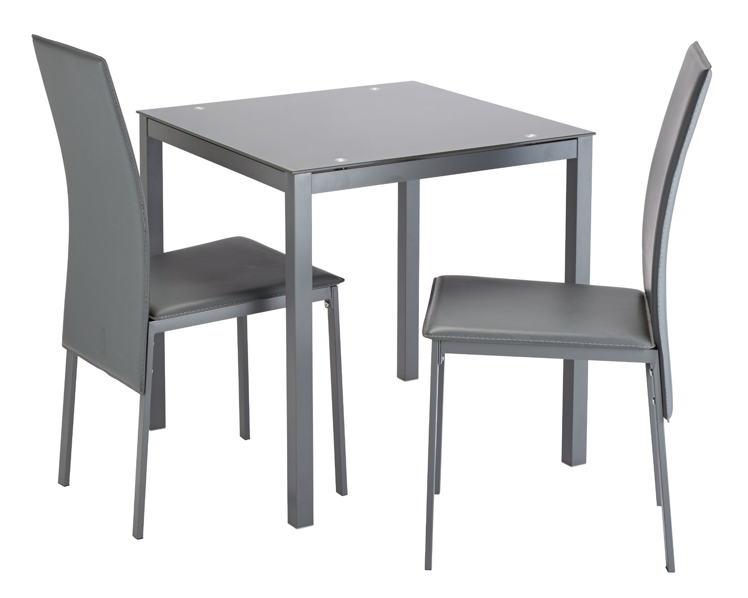 Argos Home Lido Glass Dining Table & 2 Grey Chairs