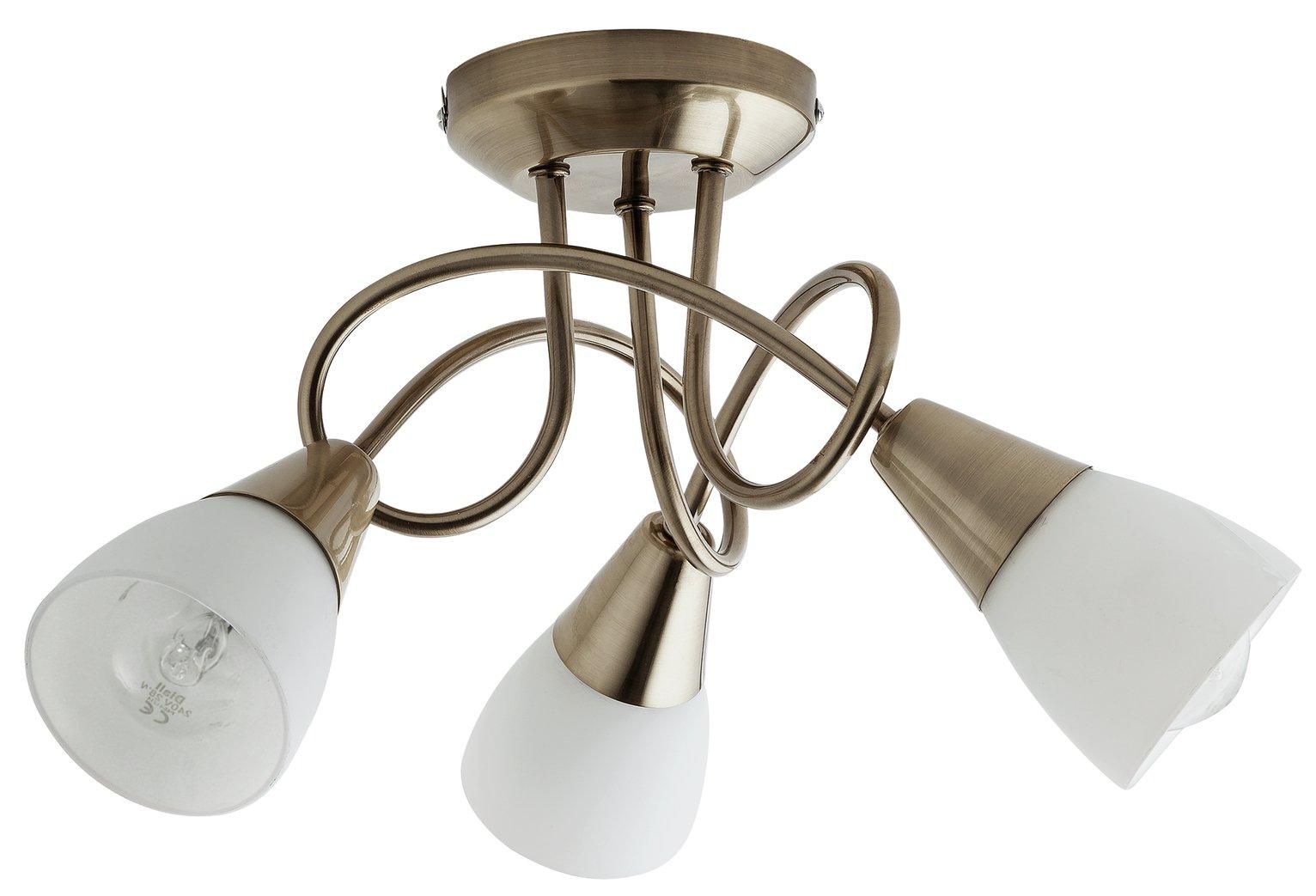 Argos Home Curico 3 Light Glass Ceiling Light -Antique Brass