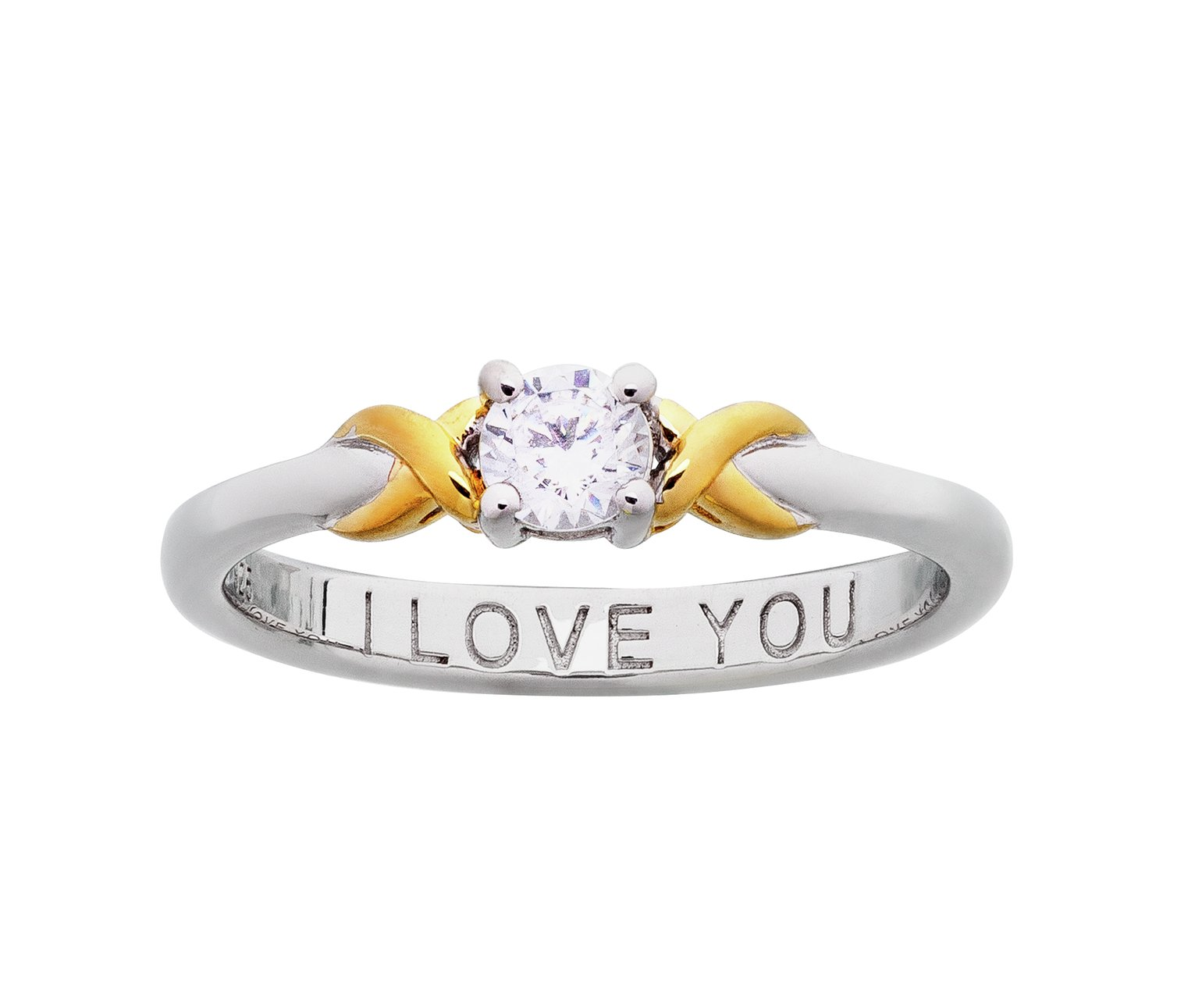 Image of Moon & Back Silver and 9ct Gold Plated CZ Solitaire Ring