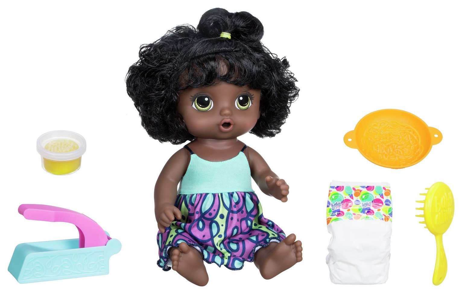 Image of Baby Alive Super Snacks Snackin' Noodle Dark Brown Hair Baby