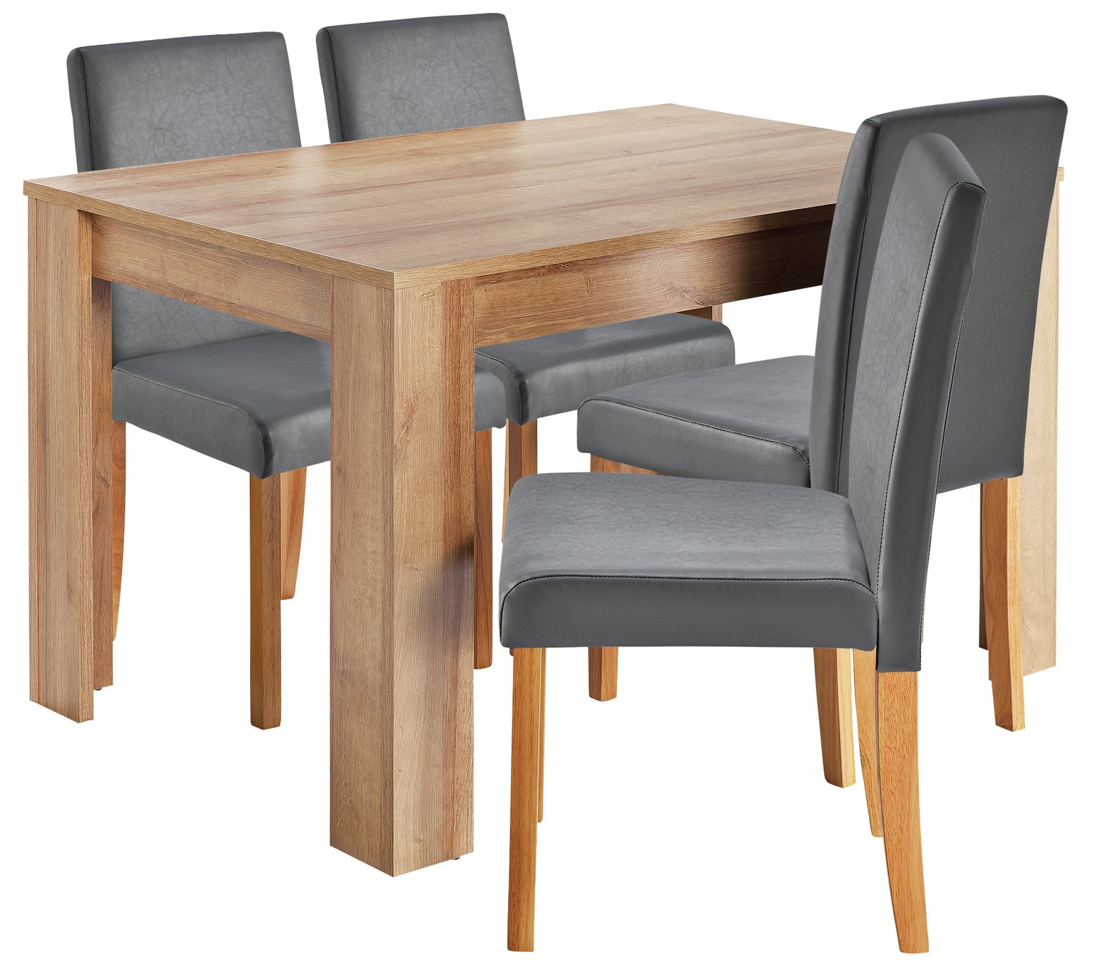 Image of HOME Miami Dining Table & 4 Chairs - Grey