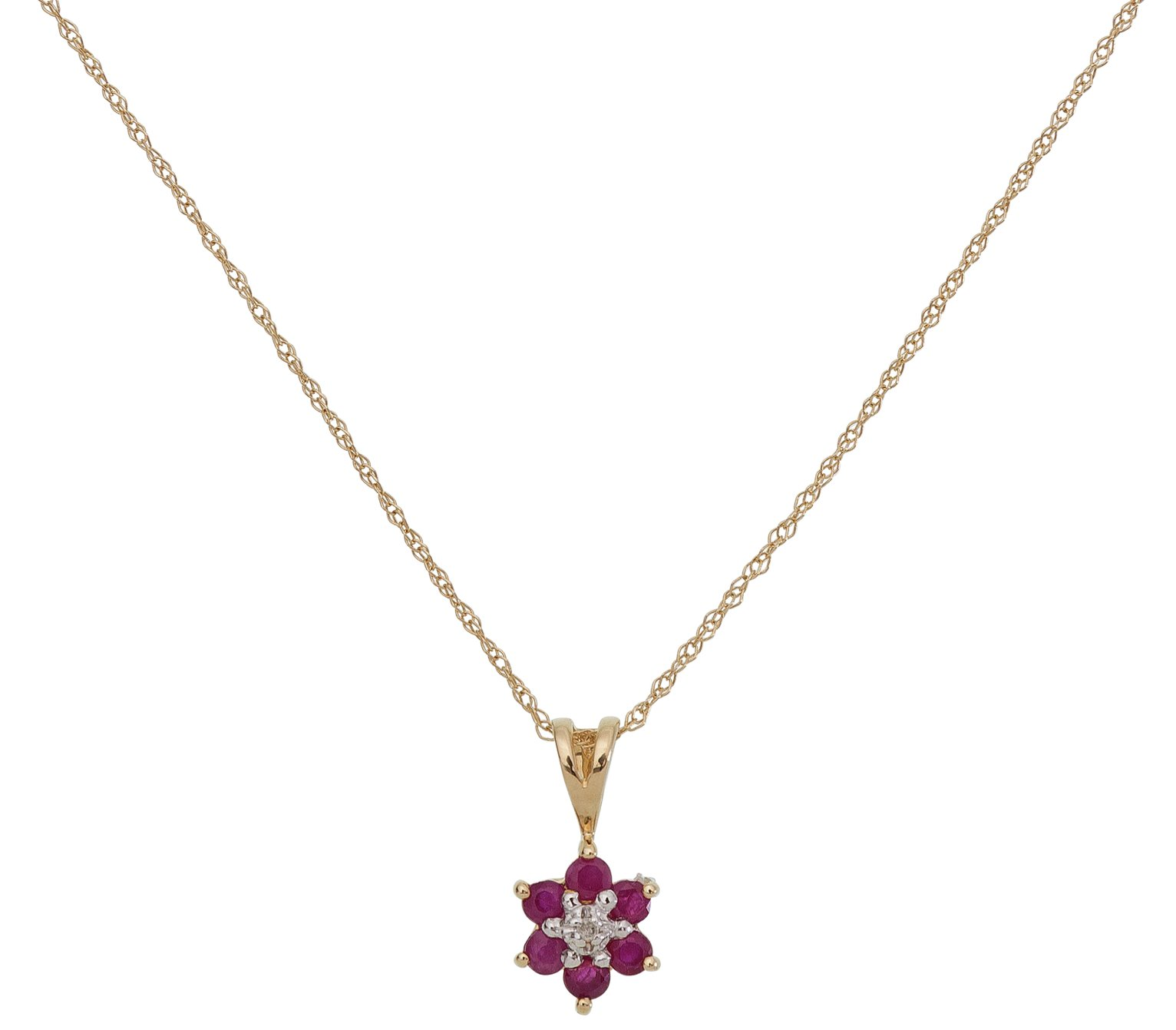 Image of Revere 9ct Gold Ruby and Diamond Accent Flower Pendant