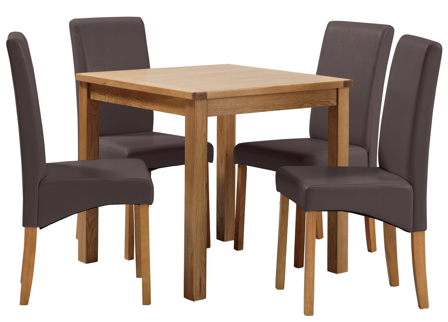 Image of Collection Ashwell Oak Veneer Table & 4 Chairs - Chocolate
