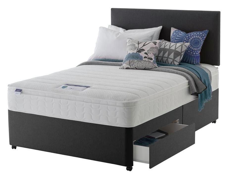Silentnight Travis 2 Drawer Superking Divan Bed - Charcoal