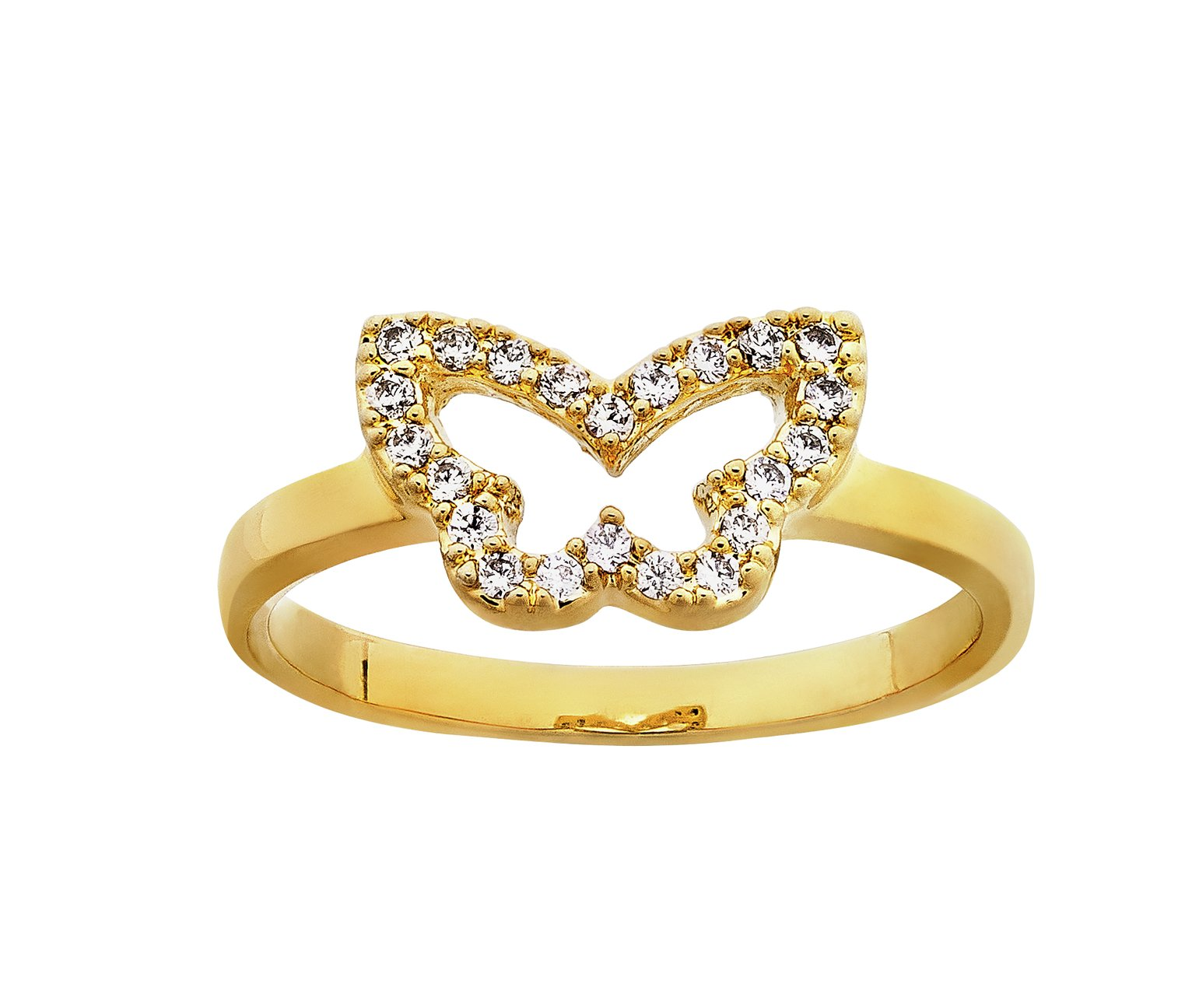 Image of Abbey Clancy Gold Colour Cubic Zirconia Butterfly Ring