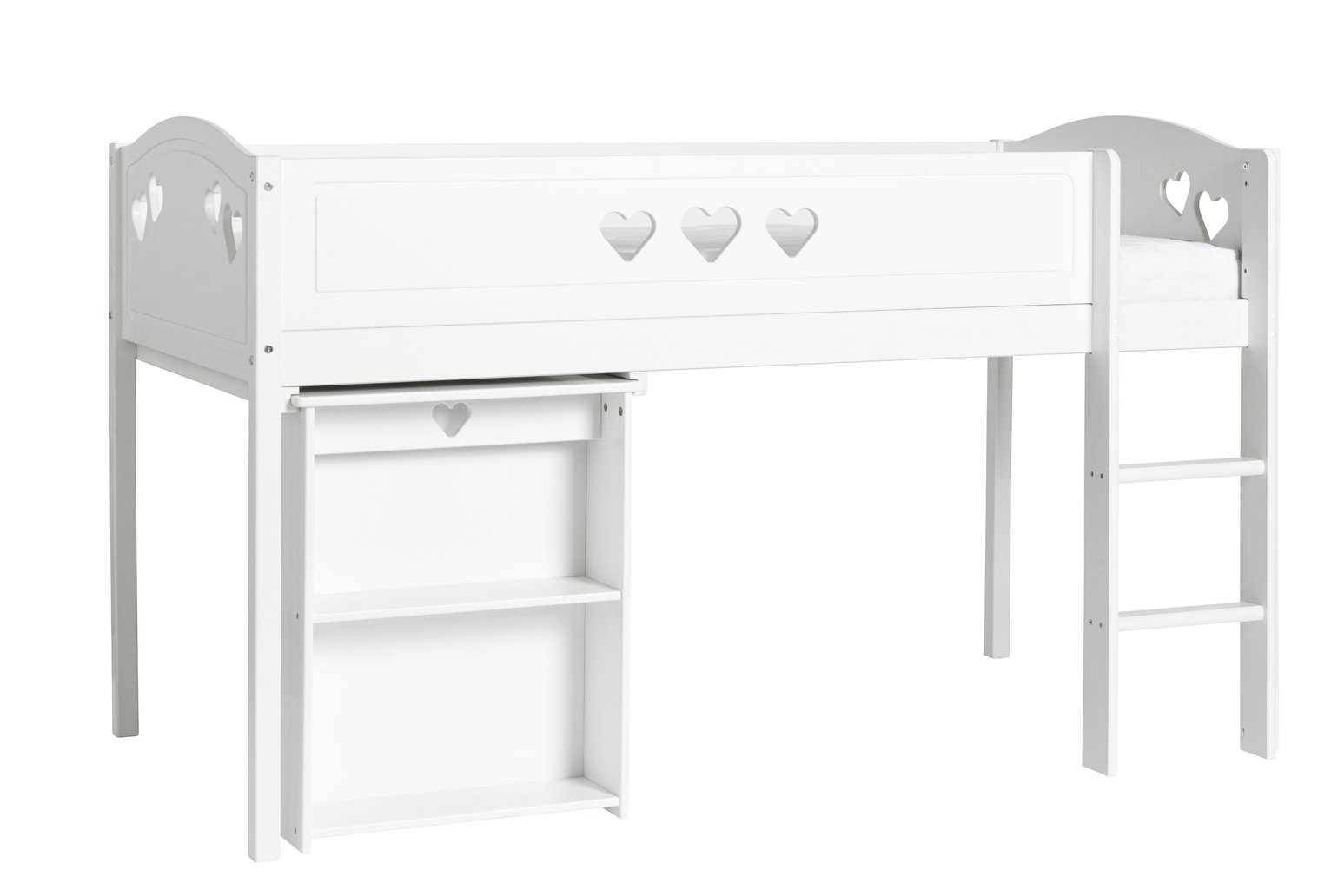 Argos Home Mia White Mid Sleeper, Desk & Kids Mattress