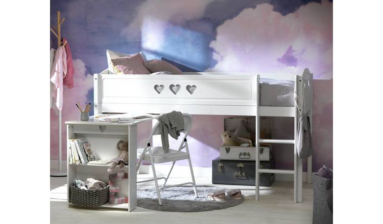 Argos Home Mia Mid Sleeper, Desk and Kids Mattress - White