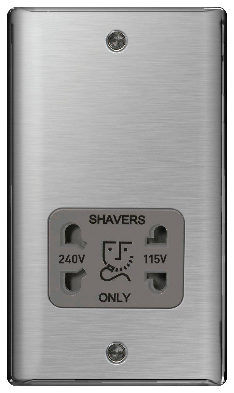 BG Raised Shaver Socket - Brushed Steel