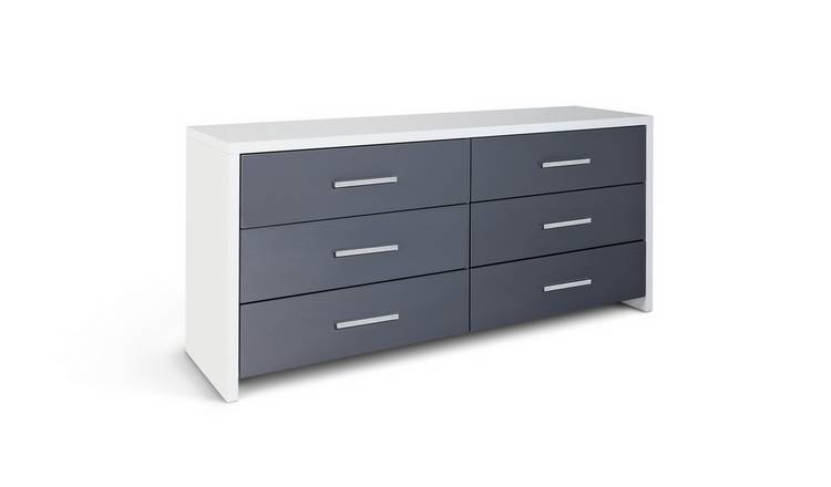 Argos Home Broadway 3+3 Drawer Chest - Grey Gloss & White
