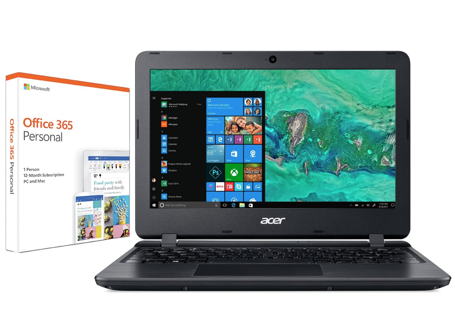 Acer Aspire 1 11In Celeron 2GB 32GB Cloudbook Laptop - Black