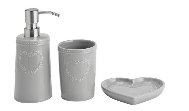 Buy Argos Home 3 Piece Bathroom Accessory Set Grey Heart