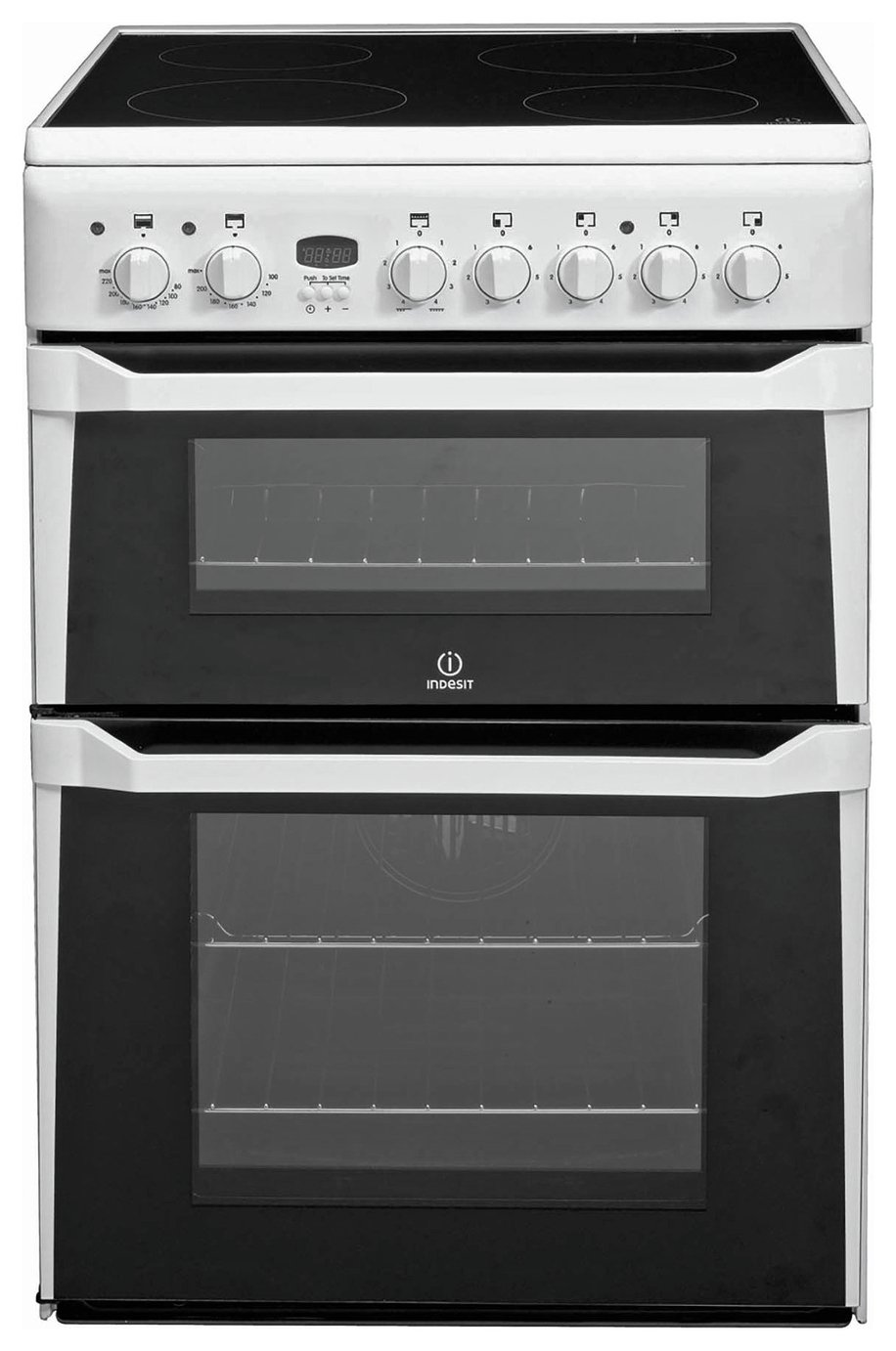 Indesit ID60C2 60cm Double Oven Electric Cooker - White Best Price, Cheapest Prices