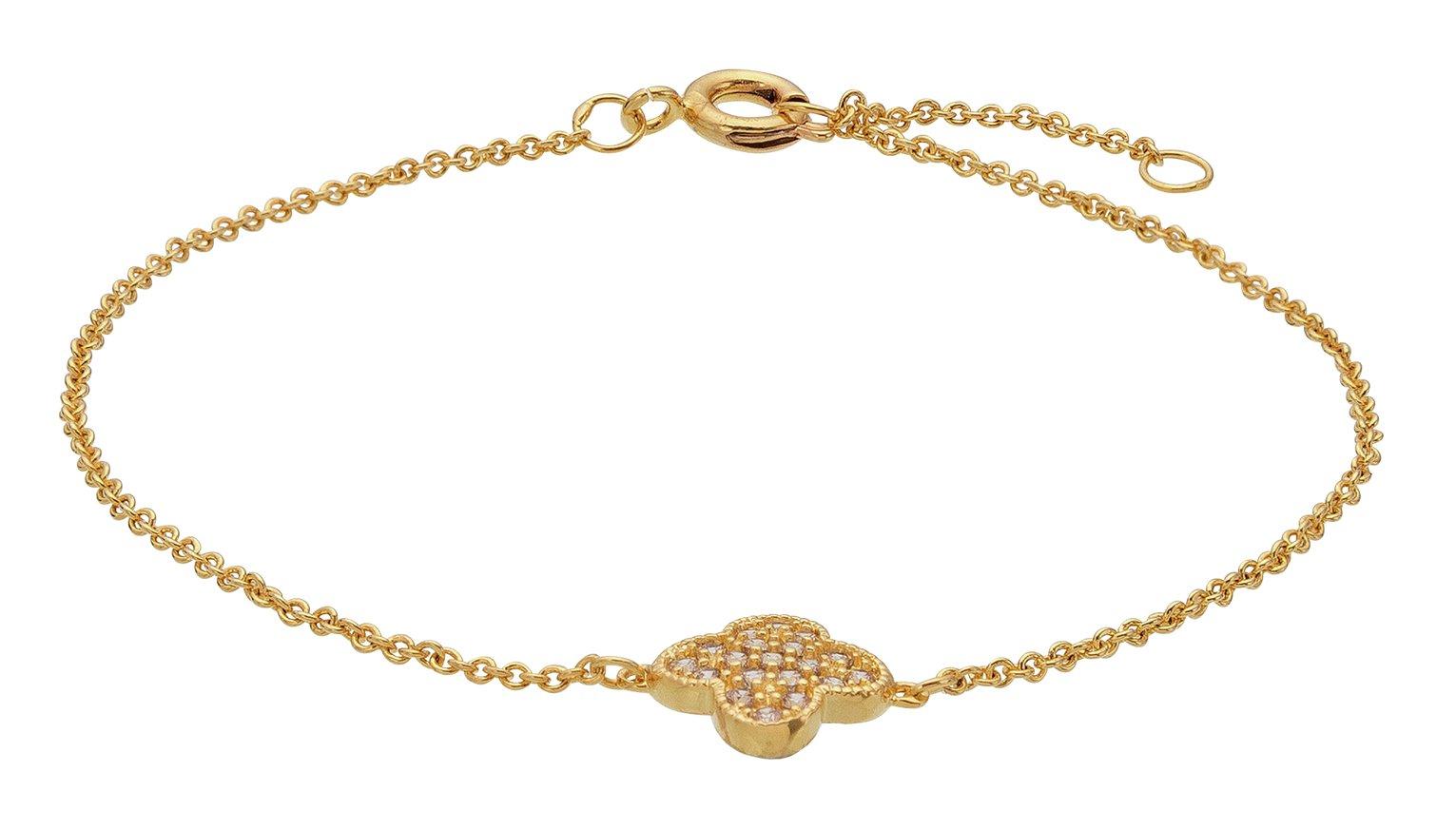 Image of Abbey Clancy Gold Colour Cubic Zirconia Flower Bracelet