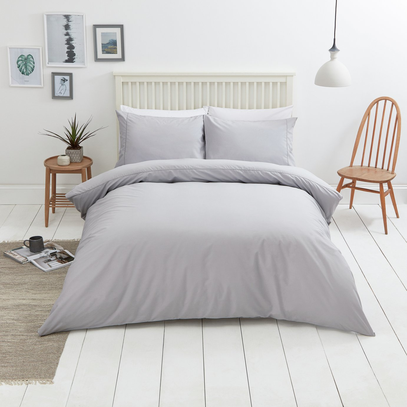 Sainsbury's Home Cool Cotton Soft Grey Bedding Set - S.King