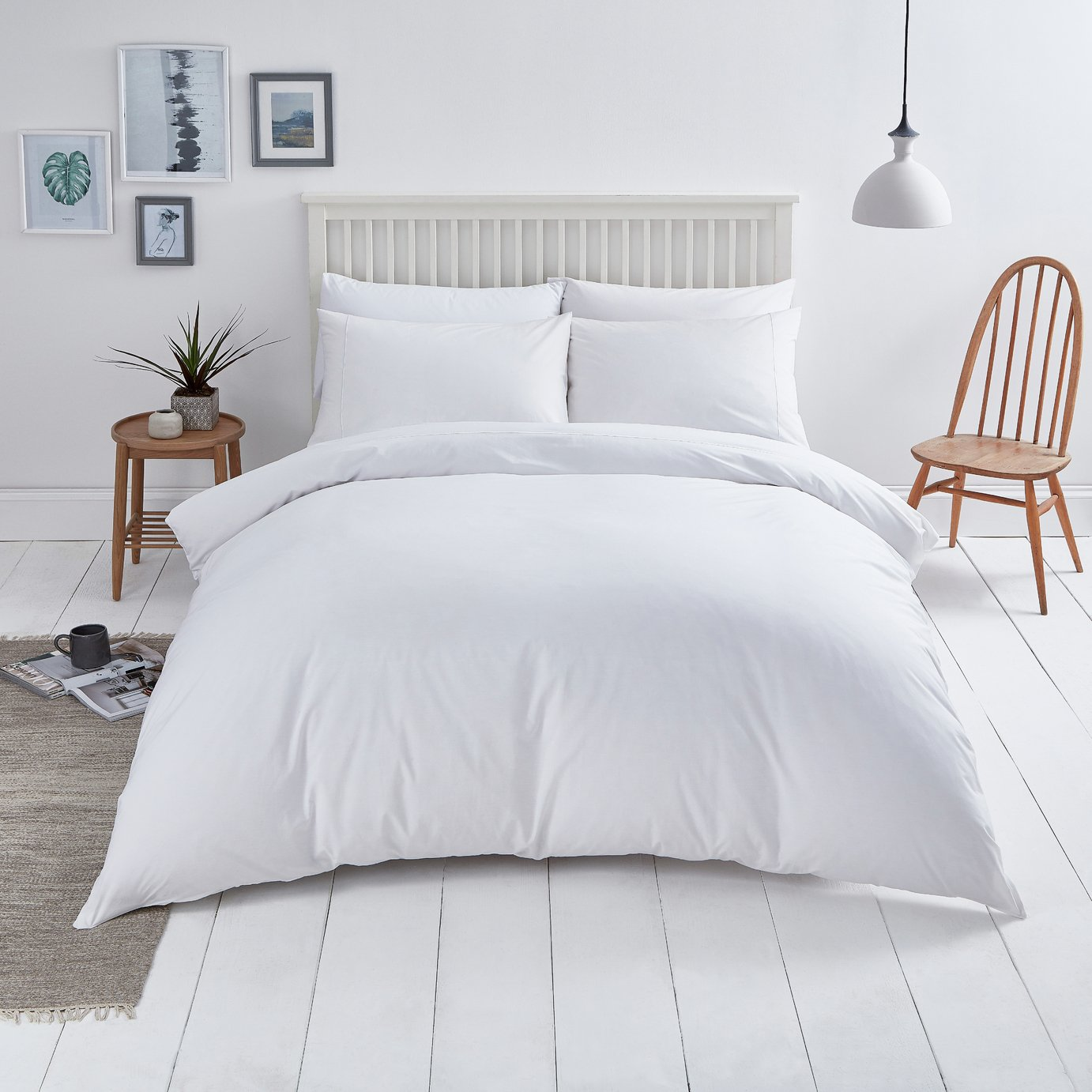 Sainsbury's Home Cool Cotton White Bedding Set - Double
