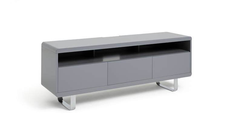 Habitat Sleigh 2 Door 1 Drawer TV Unit - Gloss Grey