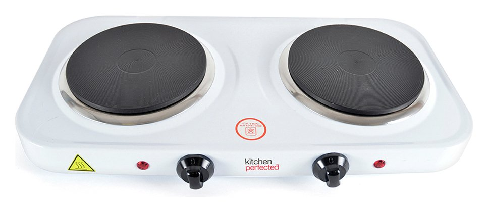Kitchen Perfected White Double Electric Hotplate - 2000W
