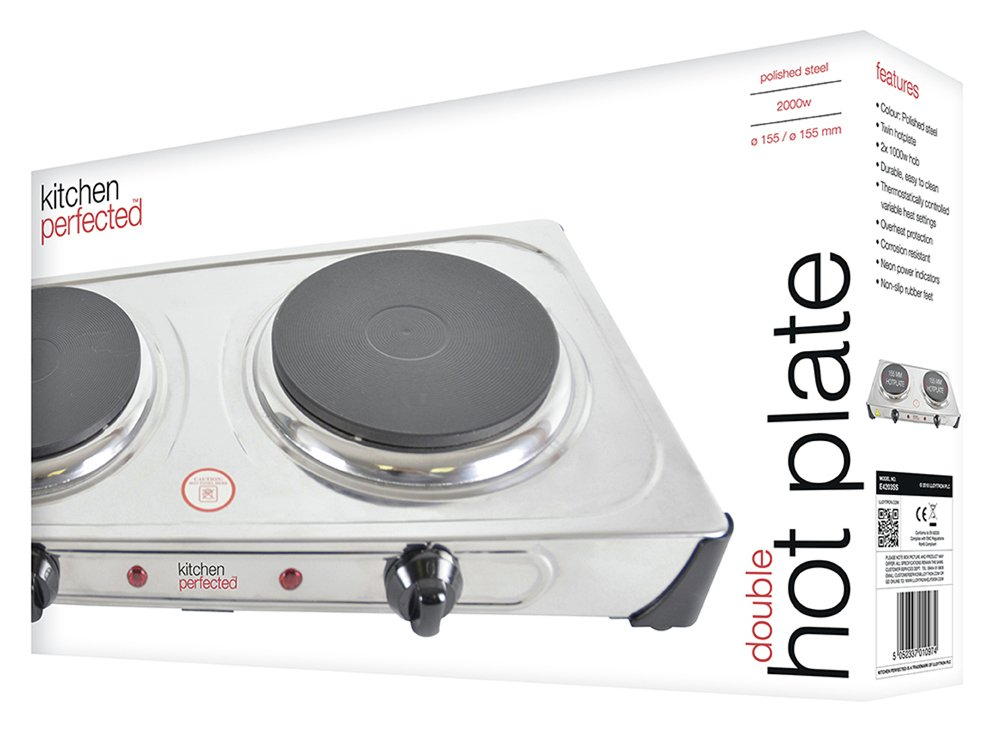 Kitchen Perfected Electric Double Hotplate - 2000W