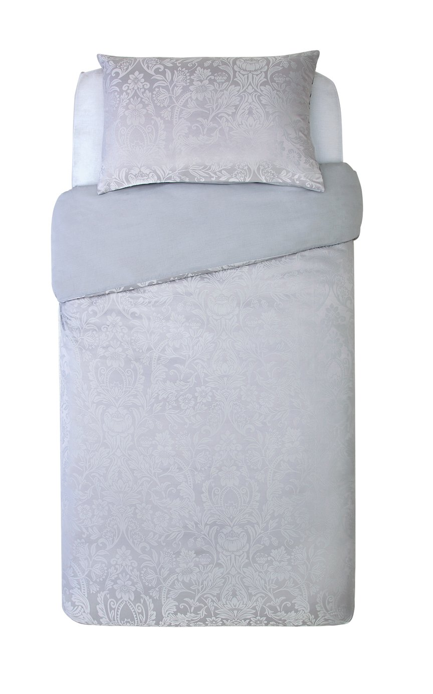 Argos Home Grey Damask Jacquard Bedding Set - Single