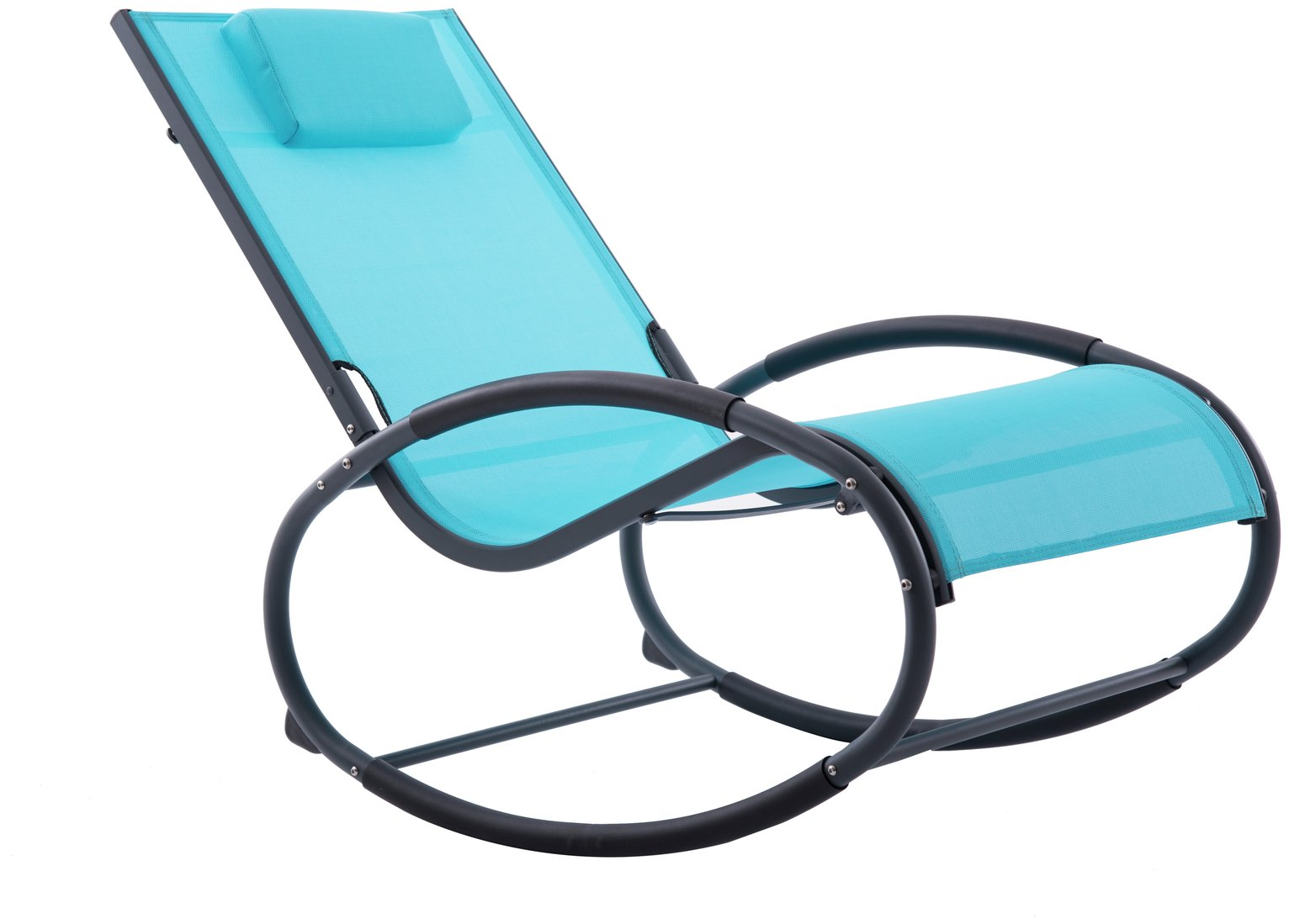 Vivere Wave Metal Rocker Chair - Ocean Blue on Matte Grey Best Price, Cheapest Prices