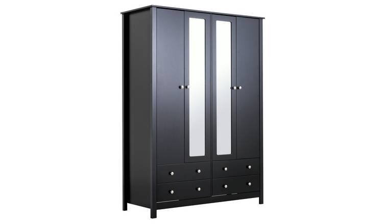 Habitat Osaka 4 Door 4 Drawer Mirrored Wardrobe - Black