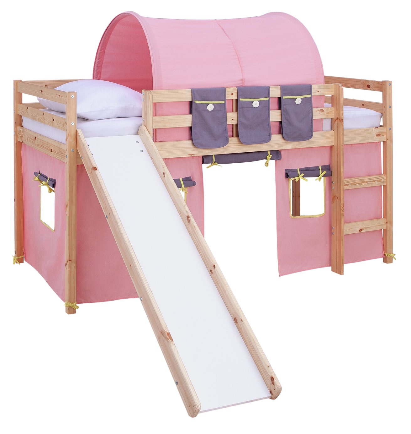 Argos Home Kaycie Pine Mid Sleeper with Slide & Rose Tent