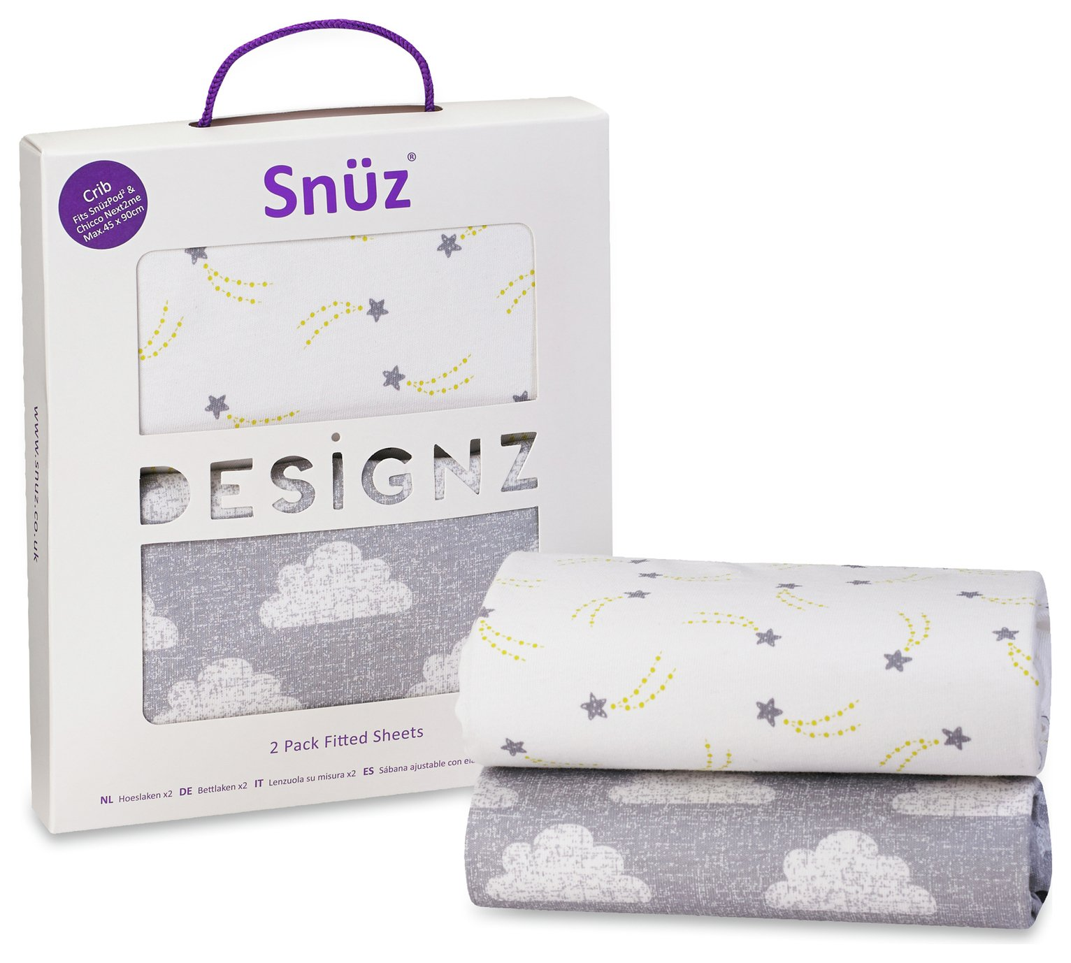 Snuz Crib 2 Pack of Fitted Sheets - Cloud 9