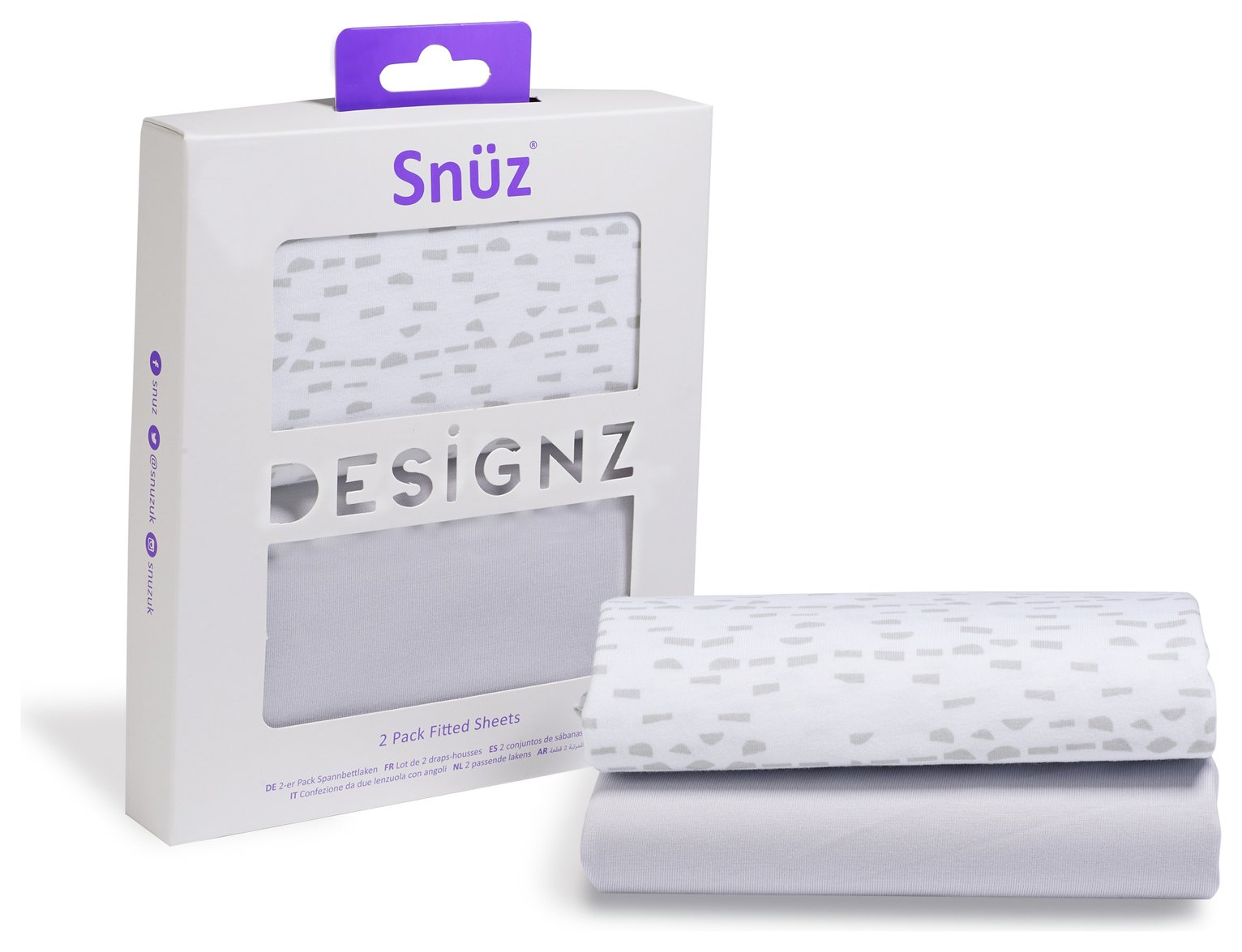 Image of Snuz Fitted Crib Sheet 2 Pack - Grey