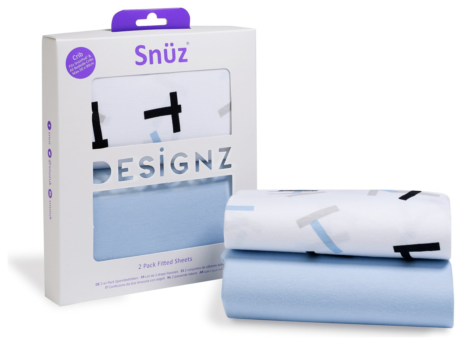 Snuz Fitted Crib Sheet 2 Pack - Breeze