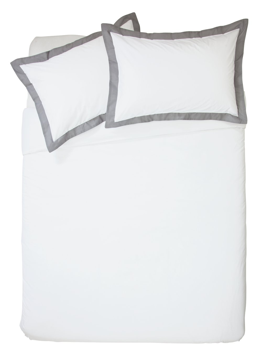 Argos Home White and Grey Oxford Bedding Set - Superking