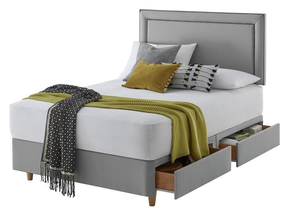 Silentnight Toulouse 4Drw Superking Divan & Headboard - Grey