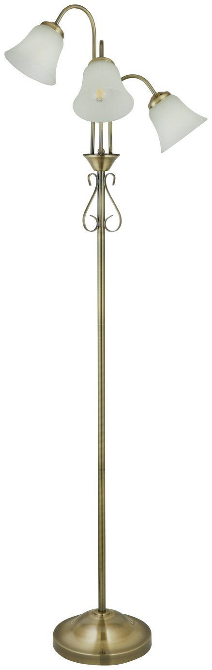 Argos Home Elisa 3 Light Floor Lamp - Antique Brass