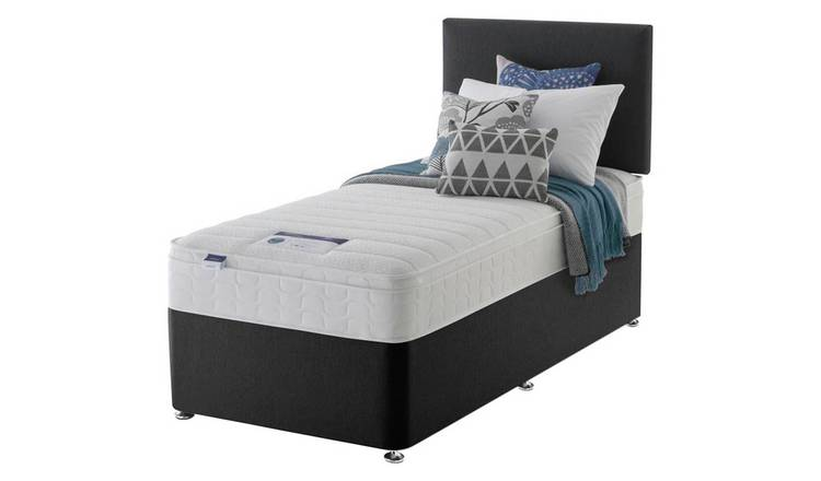 Silentnight Travis Memory Single Divan & Headboard -Charcoal
