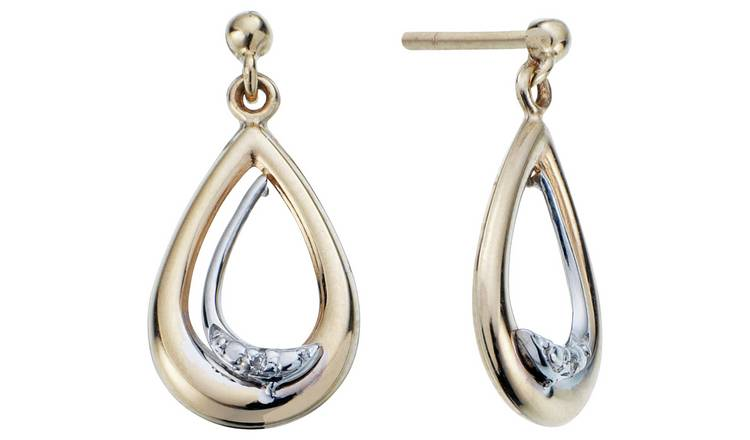 Revere 9ct Gold Diamond Accent Drop Earrings