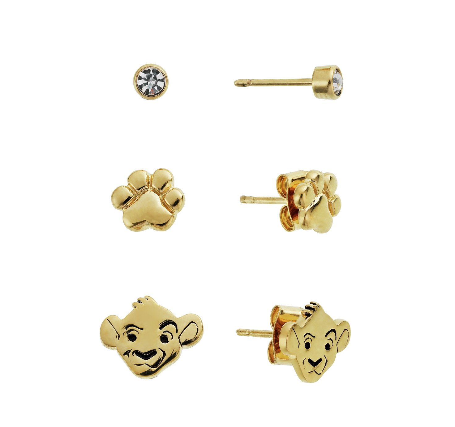 Disney Lion King Gold Colour Crystal Stud Earring - Set of 3