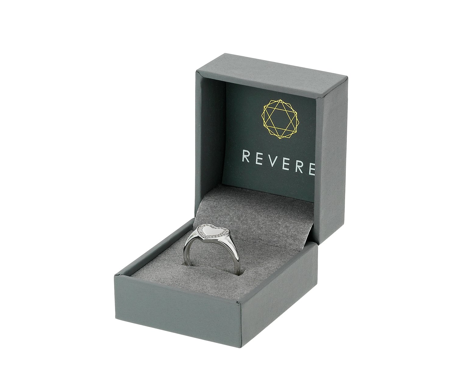 Revere Sterling Silver Cubic Zirconia Heart Signet Ring