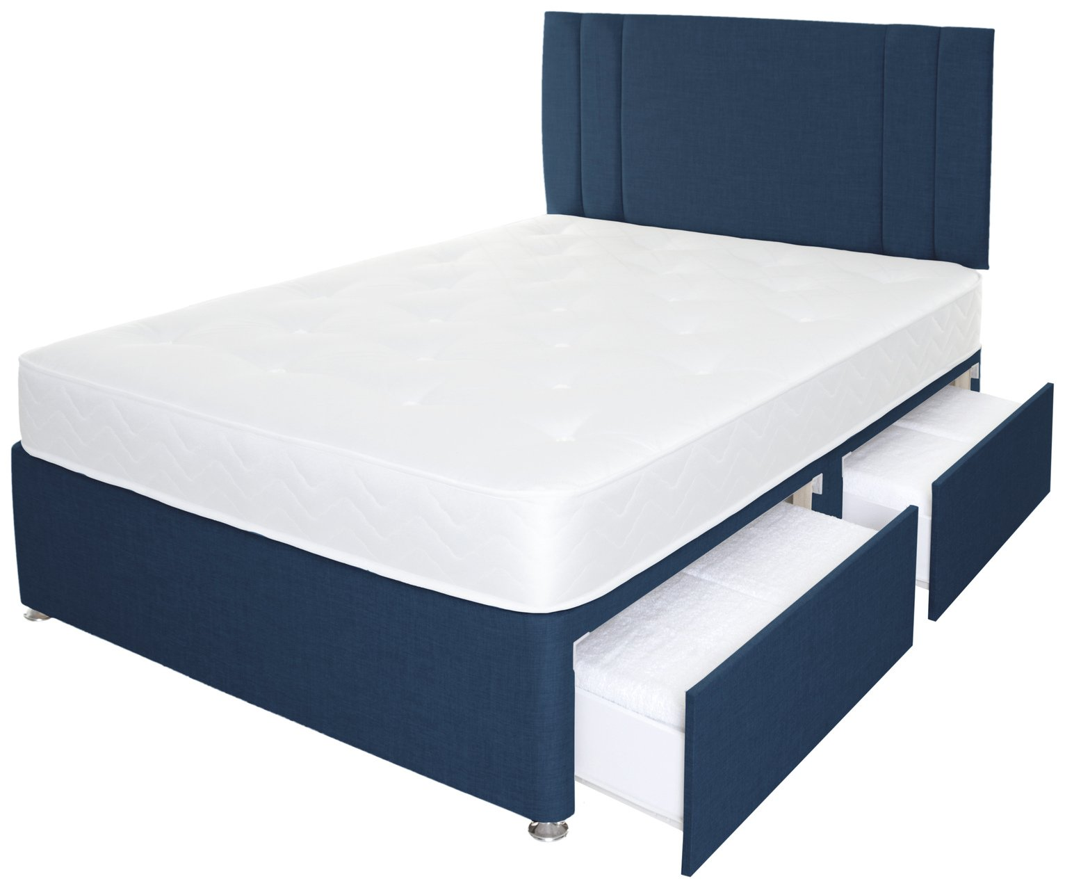 Airpsrung Henlow 1200 Pkt 4 Drw Divan Bed & Headboard - Blue at Argos