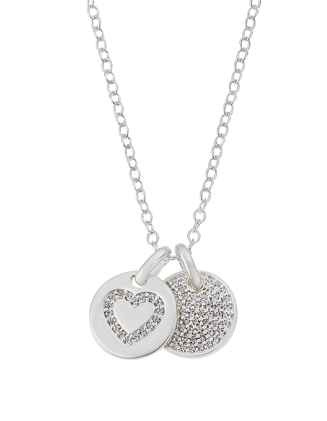 Revere Silver Two Disc Pendant 18 Inch Necklace